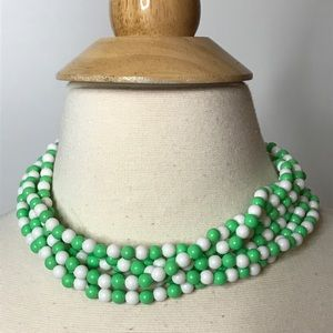 Jewelry - Vintage 6 Strand Twisted Bead Necklace Green White